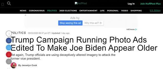 《赫芬顿邮报》:特朗普竞选团队在广告中编辑照片使拜登看起来更老