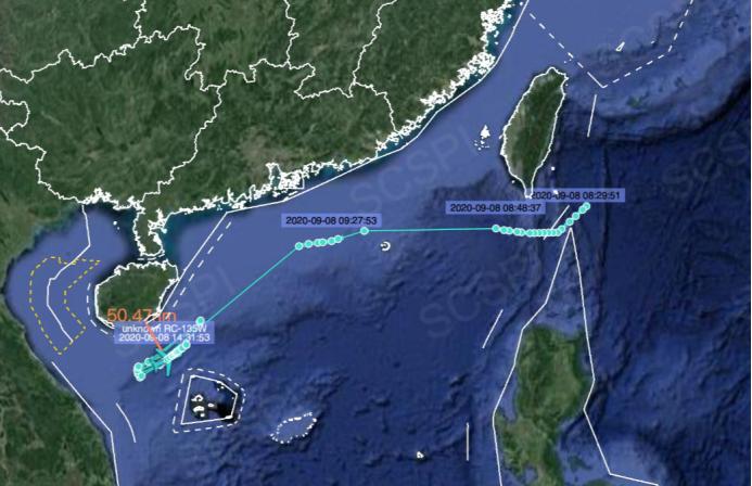 美军侦察机疑似伪装成马来西亚飞机,在海南与西沙群岛间密集飞行