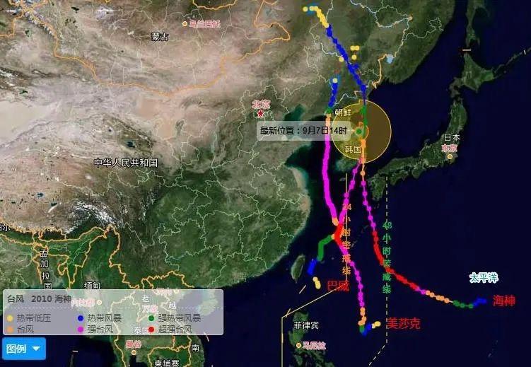 """2020年第8号台风""""巴威""""、第9号台风""""美莎克""""和第10号台风""""海神""""都是一路向北的路径。中央气象台"""