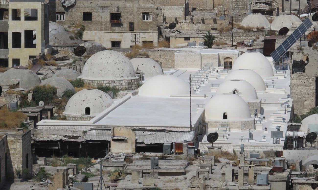 正在重建中的叙利亚阿勒颇萨卡提亚露天市场(Al-Saqatiyya Souk)