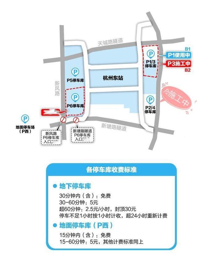 去杭州火车东站停车又有新变化,宝藏停车示意图和攻略来了