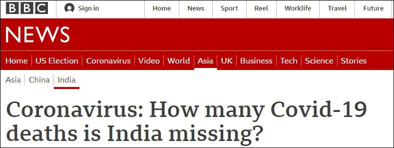 报道截图:印度漏报了多少新冠死亡数据?