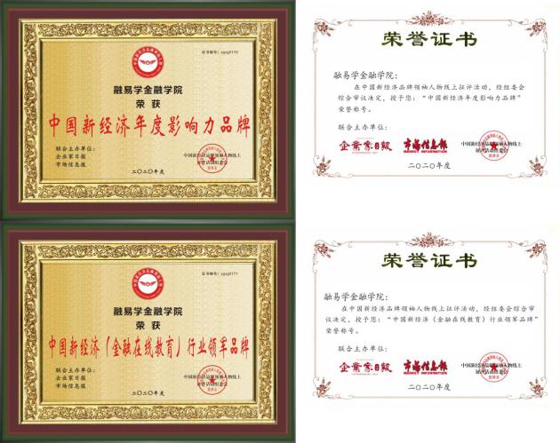 """融易学金融学院荣获""""中国新经济(金融在线教育)行业领军品牌"""""""