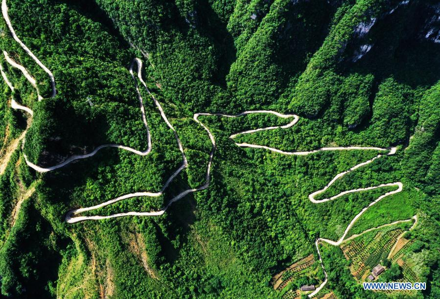 Aerial photo taken on July 3, 2020 shows the mountain roads at Xiazhuang Village, Zhuxian Township, Wushan County of southwest China's Chongqing. For those who lived in Xiazhuang Village, it once took them two days to reach the nearest county. Thanks to the unceasing efforts of Mao Xianglin, the onerous travelling has become a history. In 1997, 38-year-old Mao Xianglin, the secretary of Communist Party of China (CPC) branch of Xiazhuang Village and head of the village committee, mobilized the villagers to build a better road to the outside world. To speed up the road building, Mao once worked and lived at the construction site for three months without going home. Finally in 2004, an 8-kilometer long and 2-meter wide road was finished. After more widening and hardening work conducted by the local government, the travel time from Xiazhuang Village to the county seat has been slashed to about one and a half hours. For Mao, building a road is the first step, and seeking a way to prosperity is the second. After consulting experts, he decided to develop orange planting industry in the village. Now, the orange orchard here covers an area of about 650 mu (about 43.3 hectares), and the whole village has shaken off poverty in 2015.