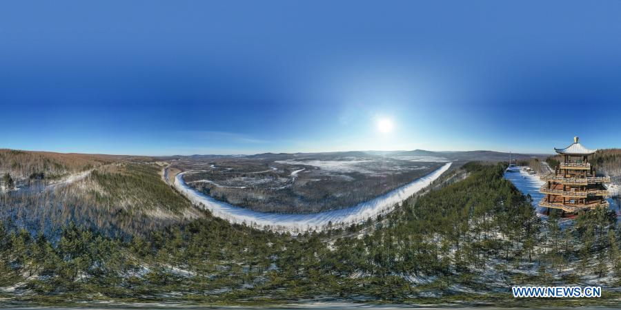 Aerial panoramic photo taken on Jan. 11, 2021 shows the winter scenery of a scenic spot in Mohe City, northeast China's Heilongjiang Province. (Xinhua/Xie Jianfei)
