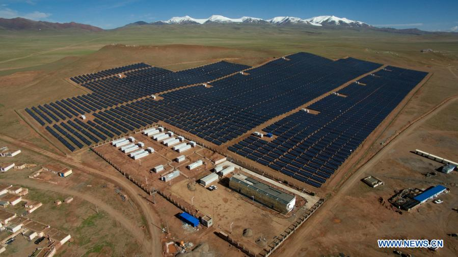 Photo taken on July 9, 2017 shows a photovoltaic power station in Nagqu, southwest China's Tibet Autonomous Region. Electricity consumption across Tibet has doubled in the past five years. For those living in the region, a stable supply of electricity not only powers the home but also a better life. (Photo by Liu Dongjun/Xinhua)