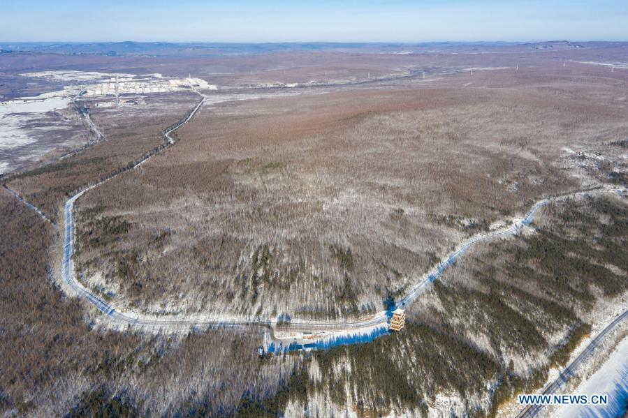 Aerial photo taken on Jan. 11, 2021 shows the winter scenery of a scenic spot in Mohe City, northeast China's Heilongjiang Province. (Xinhua/Xie Jianfei)