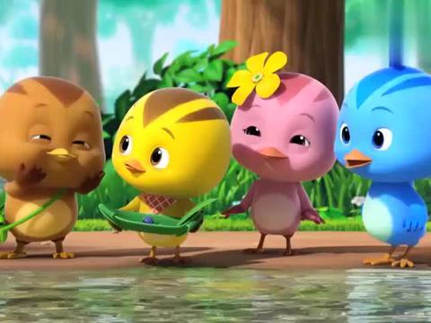 小鸡要把小蝌蚪带回家,妈妈说小蝌蚪要在河里找妈妈