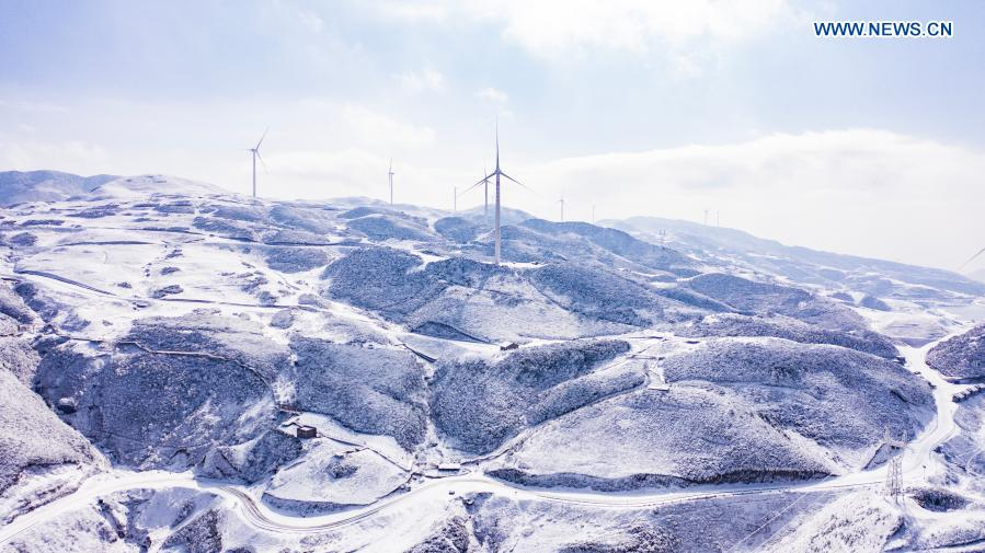Aerial photo taken on Jan. 12, 2021 shows the snow scene in Pingdi of Panzhou in Liupanshui City, southwest China's Guizhou Province. (Xinhua/Tao Liang)