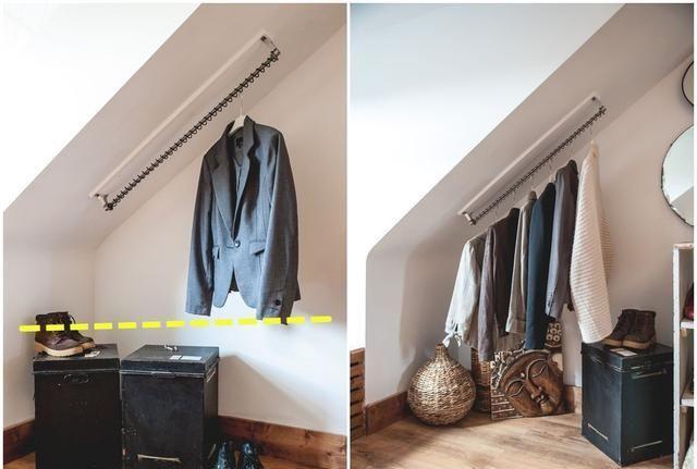 楼梯下不打柜子了,多装1根晾衣杆,绕上一圈圈的钢丝,倍儿好用