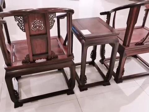 大红酸枝圈椅三件套,工艺标准值得入手