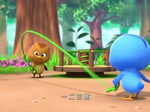 小甲虫有钳子,玩跳绳把绳子夹断了,小甲虫很难过