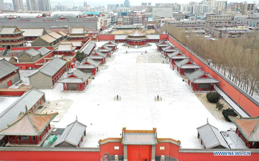 Aerial photo taken on Jan. 13, 2021 shows the snow scenery of Shenyang Imperial Palace in Shenyang, northeast China's Liaoning Province. Shenyang Imperial Palace was built in 1625 and had been used as the imperial palace in early Qing Dynasty (1616-1911). (Xinhua/Yao Jianfeng)