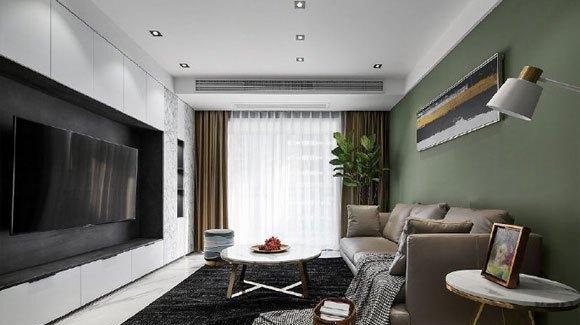 现代风格设计的小户型,墨绿色墙面真好看,简约时尚还很高级!