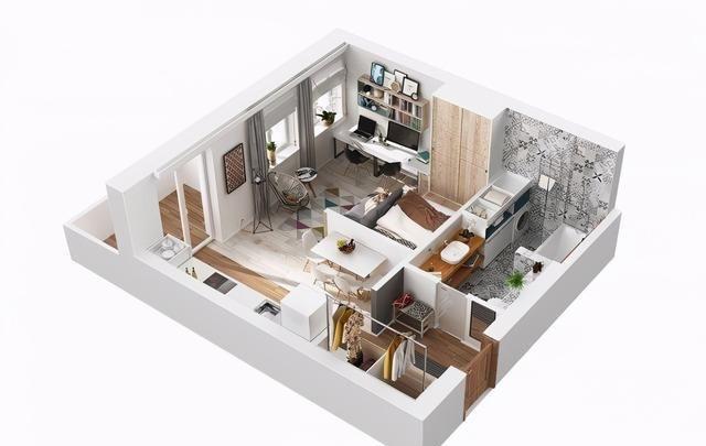 40平米的单身公寓,入户就被迷住了,开放式的设计温馨大气又舒适