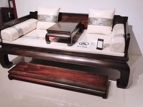 大红酸枝三围独板罗汉床,精品红木家具三件套
