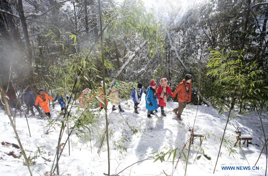 Students from Huchangbao Primary School participate in educational activities at a camp in Longcanggou National Forest Park in Yingjing County, southwest China's Sichuan Province, Jan. 13, 2021. Recent years Yingjing County has organized a series of educational activities in Longcanggou National Forest Park to boost local education in natural environment. (Xinhua/Liu Mengqi)