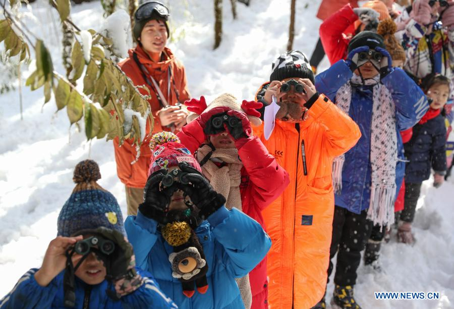 Students from Huchangbao Primary School observe birds at a camp in Longcanggou National Forest Park in Yingjing County, southwest China's Sichuan Province, Jan. 13, 2021. Recent years Yingjing County has organized a series of educational activities in Longcanggou National Forest Park to boost local education in natural environment. (Xinhua/Jiang Hongjing)