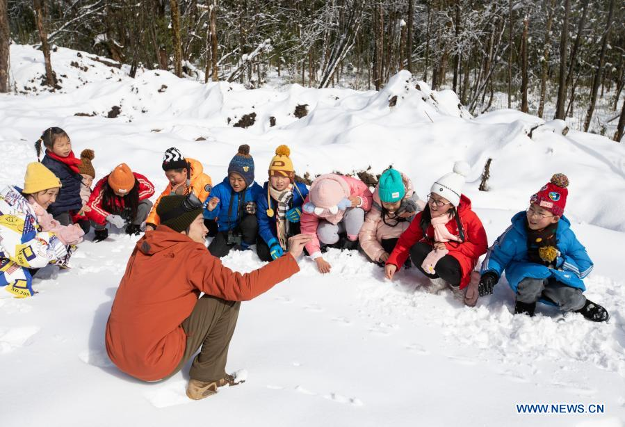 Students from Huchangbao Primary School learn to seek and recognize wildlife footprints at a camp in Longcanggou National Forest Park in Yingjing County, southwest China's Sichuan Province, Jan. 13, 2021. Recent years Yingjing County has organized a series of educational activities in Longcanggou National Forest Park to boost local education in natural environment. (Xinhua/Jiang Hongjing)