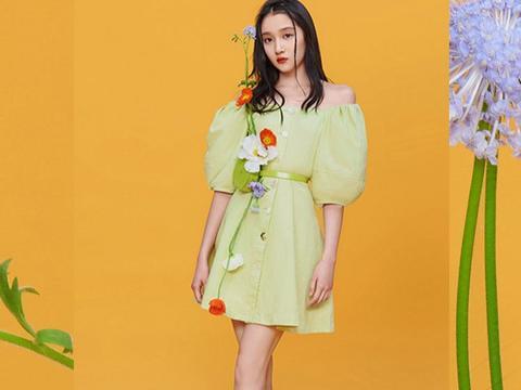 关晓彤穿绿裙秀白嫩香肩,配精致妆容美似花仙子