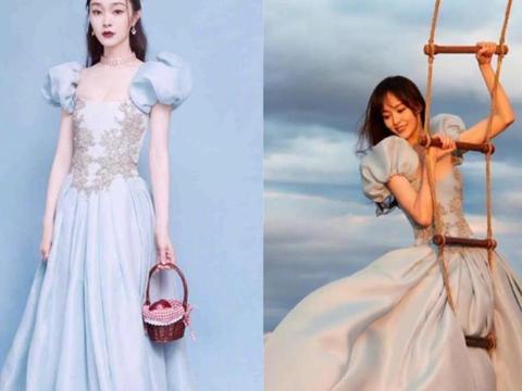 宋轶撞衫唐嫣谁更美?雾霾蓝灯笼袖礼服裙,一个少女一个公主