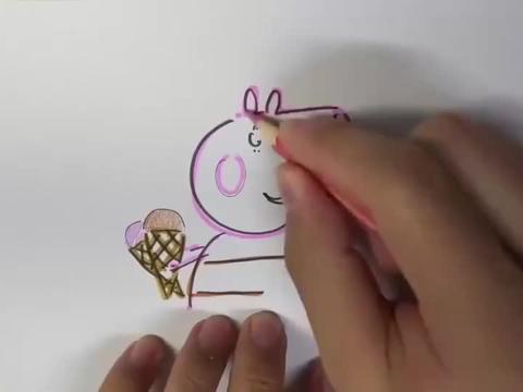 猪妈妈手中拿着巧克力和草莓口味的冰淇淋甜筒