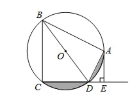 这道题求圆中阴影部分面积,巧妙运用相似三角形求出角度是关键