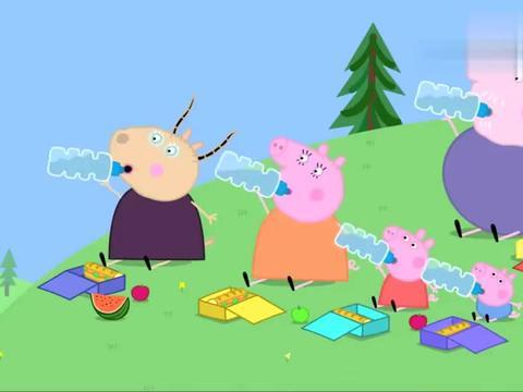 小猪佩奇:猪爸吃的很多,不练习跑步,却练习吃意大利面!