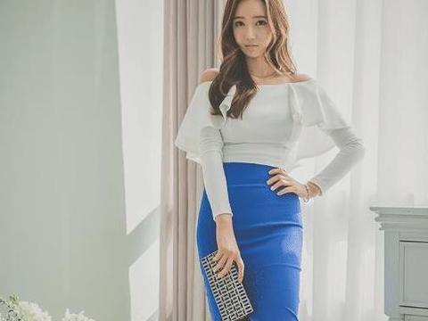 白色一字肩短衫搭配蓝色半身长裙,含蓄而靓丽,优雅亦魅力!