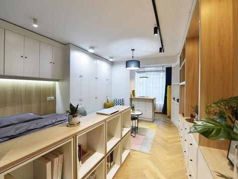 33平现代简约一居室,左右墙面布满储物柜,实现小户型大收纳