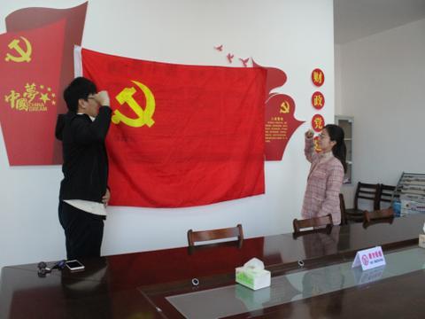 天长市新街镇财政所党小组积极开展在党旗下宣誓活动