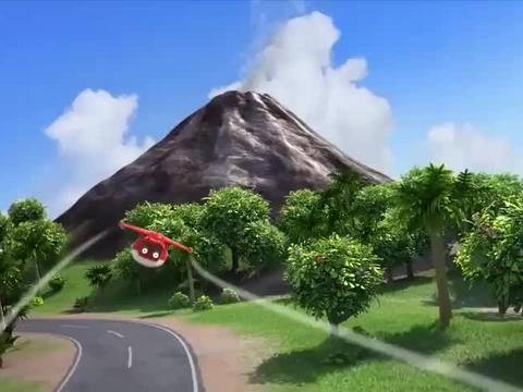 超级飞侠:火山忽然爆发,乐迪用海水压住火山,熔岩还是不停涌