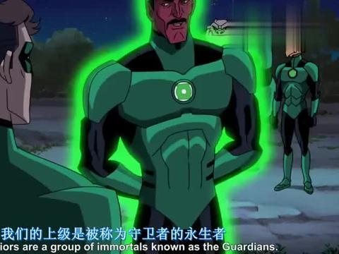 绿灯侠的戒指往地上一指,竟出现了一个由绿光组成的宇宙飞船