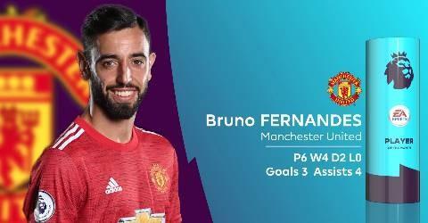 曼联的布鲁诺-费尔南德斯当选英超12月最佳球员