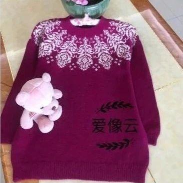 凤羽:百搭提花复古羊绒圆领棒针套头衫(有编织图解)