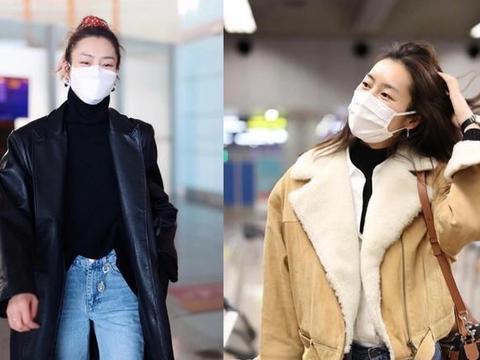 刘雯两套机场私服,黑色长皮衣和米色夹克,时尚保暖又潮流
