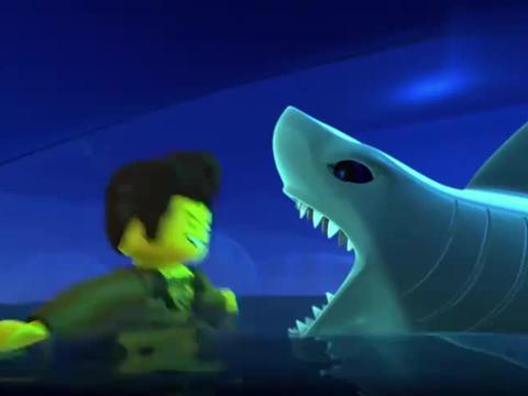 乐高幻影忍者:达雷斯和鲨鱼交流,鲨鱼转身游走,学生们欢呼起来