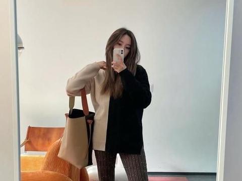 T-ara朴孝敏,日常生活中的画报,强调长腿的喇叭裤造型