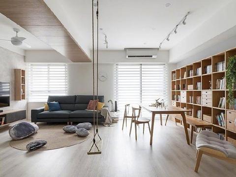 玻璃隔断墙,客厅装秋千,简约风格装修居然也能这么有品味