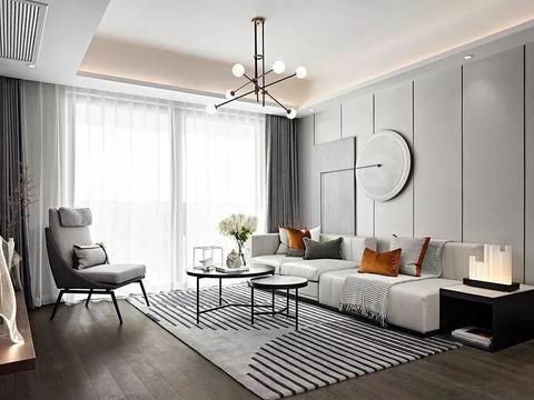 119㎡现代简约,沙发墙方形+圆形挂画,连成一幅好优雅