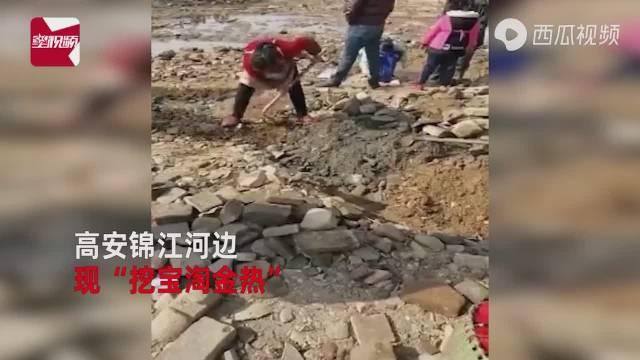 锦江河枯水期,河边出现挖宝淘金热,大量市民携工具挖掘古钱币等