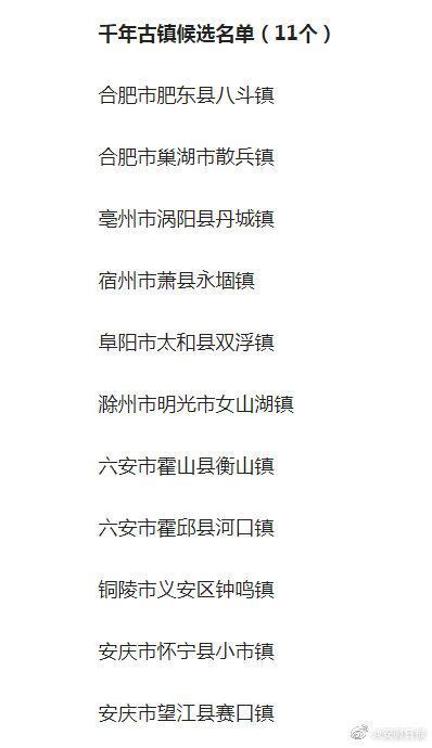 第八批安徽省千年古镇、千年古村落名单公示