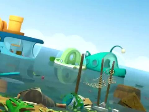 海底小纵队:队员们和鹈鹕一起,成功清理海面垃圾,共同完成任务
