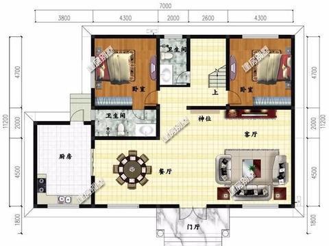 2栋厨房单独设计的别墅,户型简约方正施工易,建房很省事