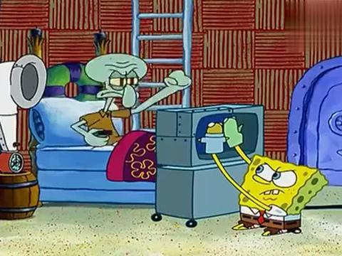 海绵宝宝:海绵宝宝蹲在电视后面,听到章鱼哥的使唤,直接爆发!
