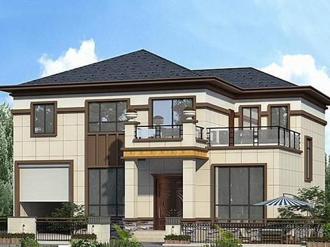 老家盖新中式二层别墅,标准5室3厅带车库,爱车人士的建房首选