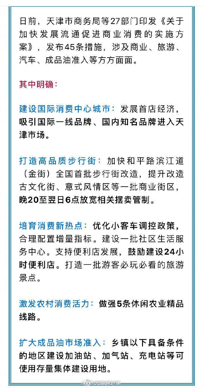 天津 天津出台45条措施涉及商业旅游、汽车限购、加油充电......