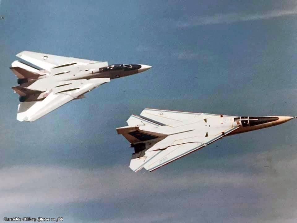 真难得,EF-111和F-14原型机合影……