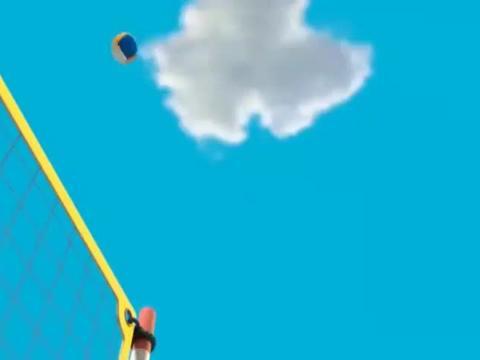 动漫:小汪在沙滩玩排球,小鲸看到后,也想要玩