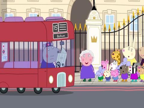 小猪佩奇:兔小姐和孩子们一起游览伦敦,女王陛下带着她们游览